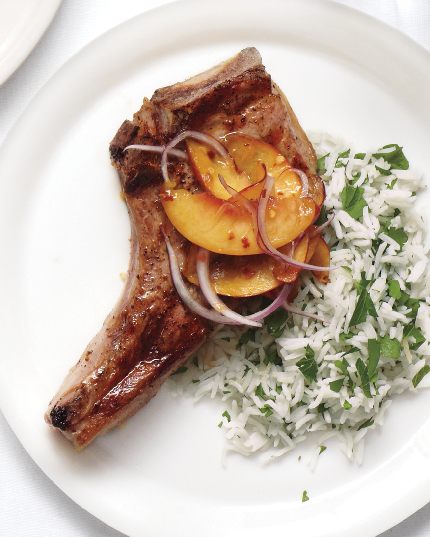 Grilled Pork Chops with Peach Relish and Herb Rice