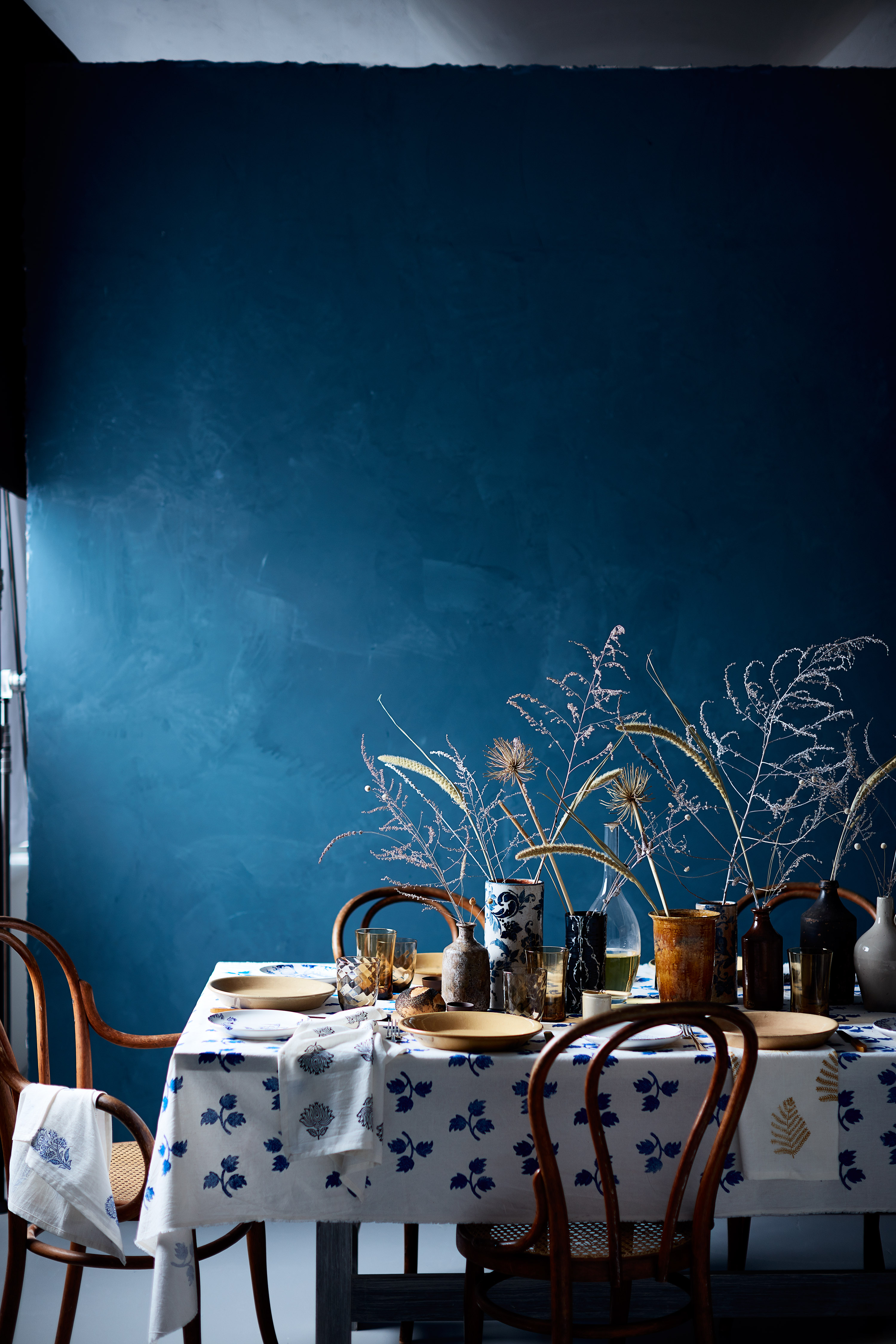 This Thanksgiving Table is Inspired by Serene Blue and Indigo Colors
