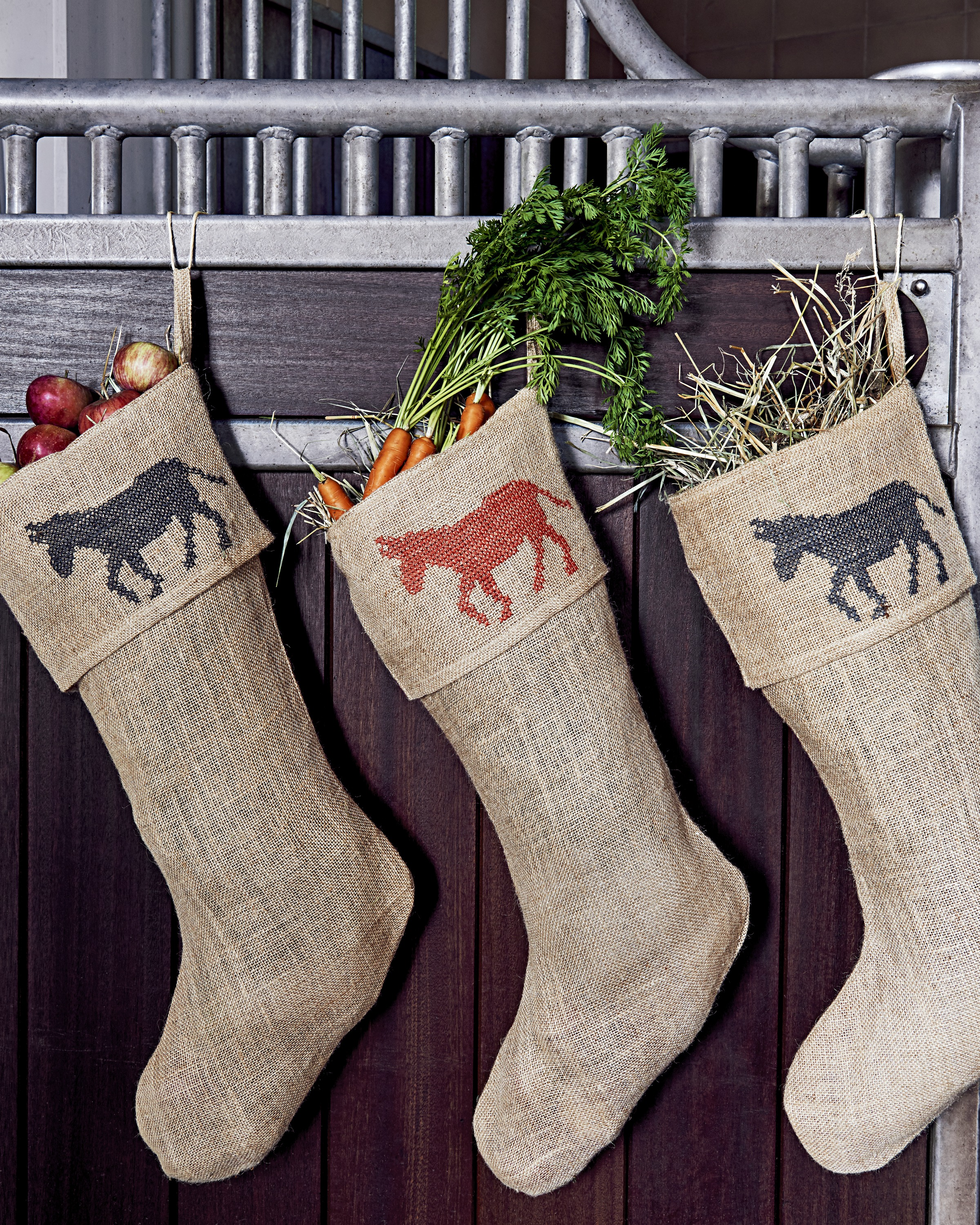 jute stockings filled with hay vegetables fruit