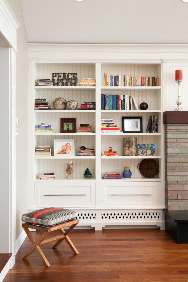 shiplap bookcase white walls