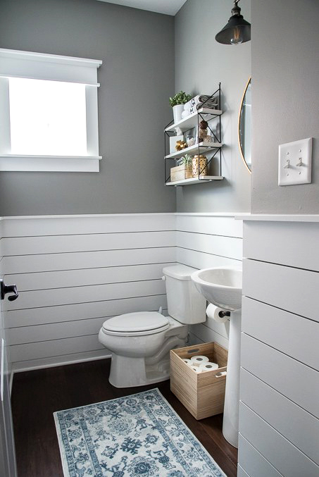 shiplap powder room bathroom toilet
