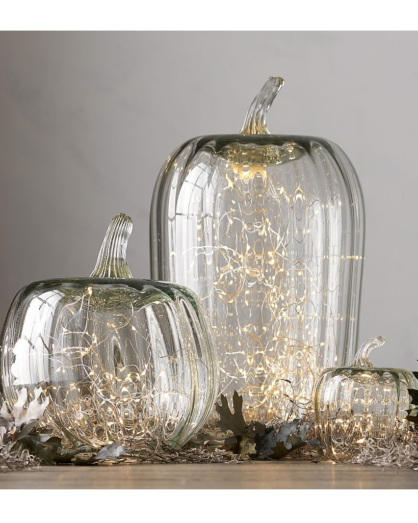 glass pumpkin cloches with lights