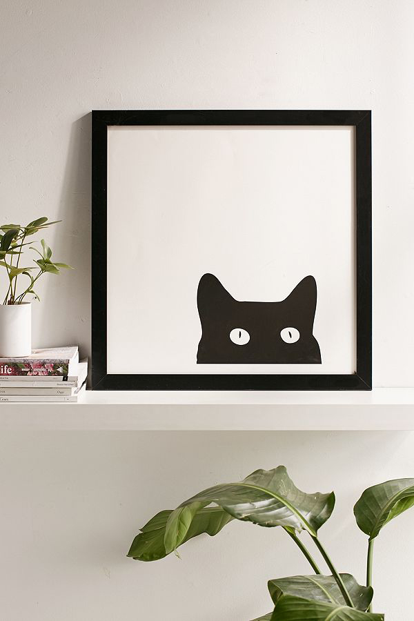 framed black cat peeking print