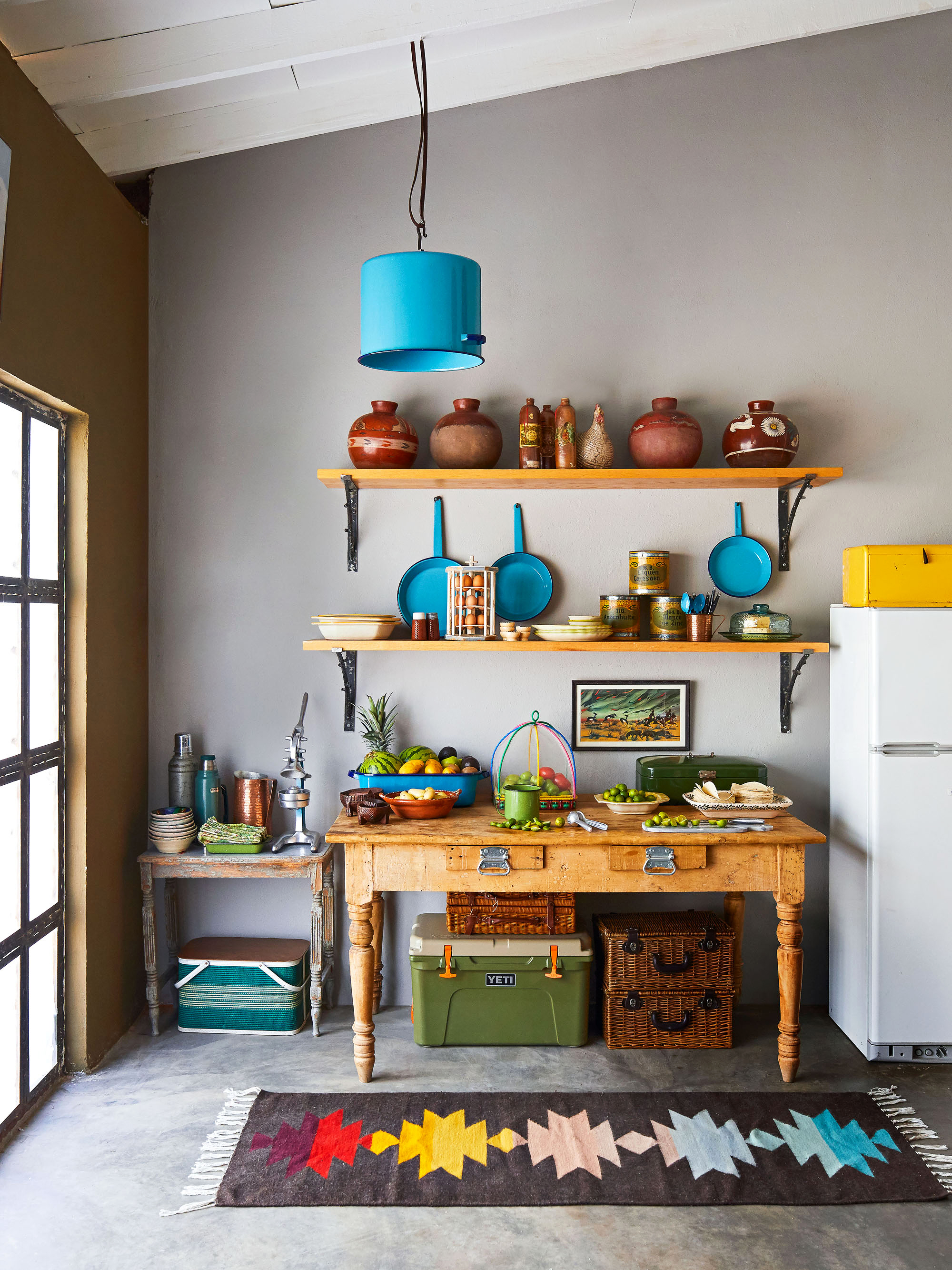 ranch kitchen with open shelving