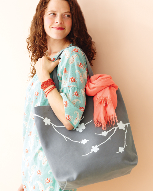 Tote Bag with White Cherry Branch Silhouettes