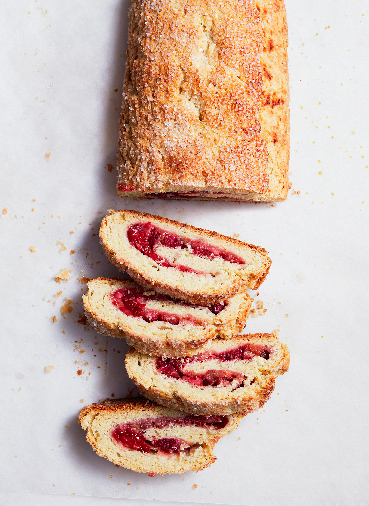 Biscuit-Jelly Roll with Rhubarb and Raspberries