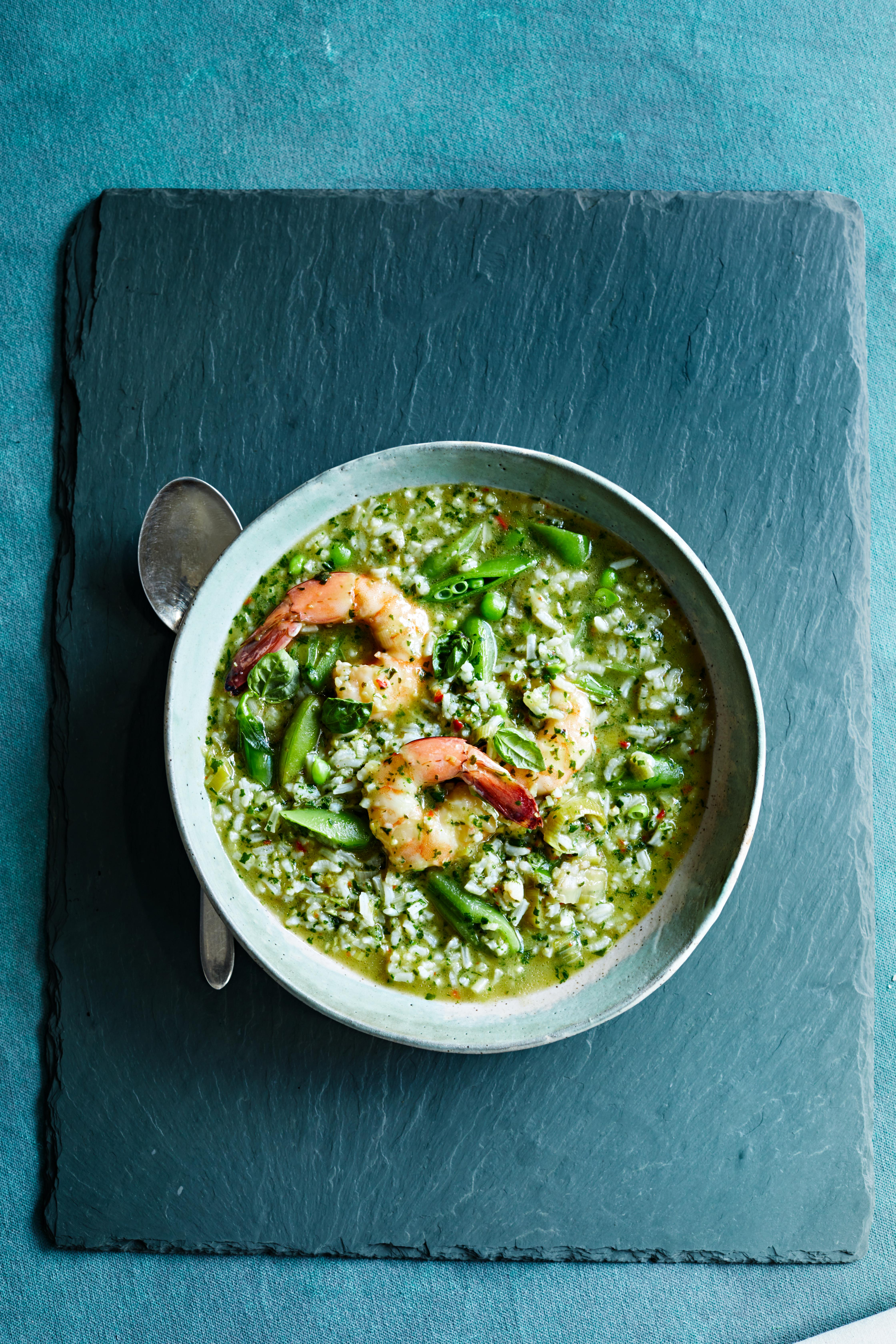 spicy green rice and shrimp