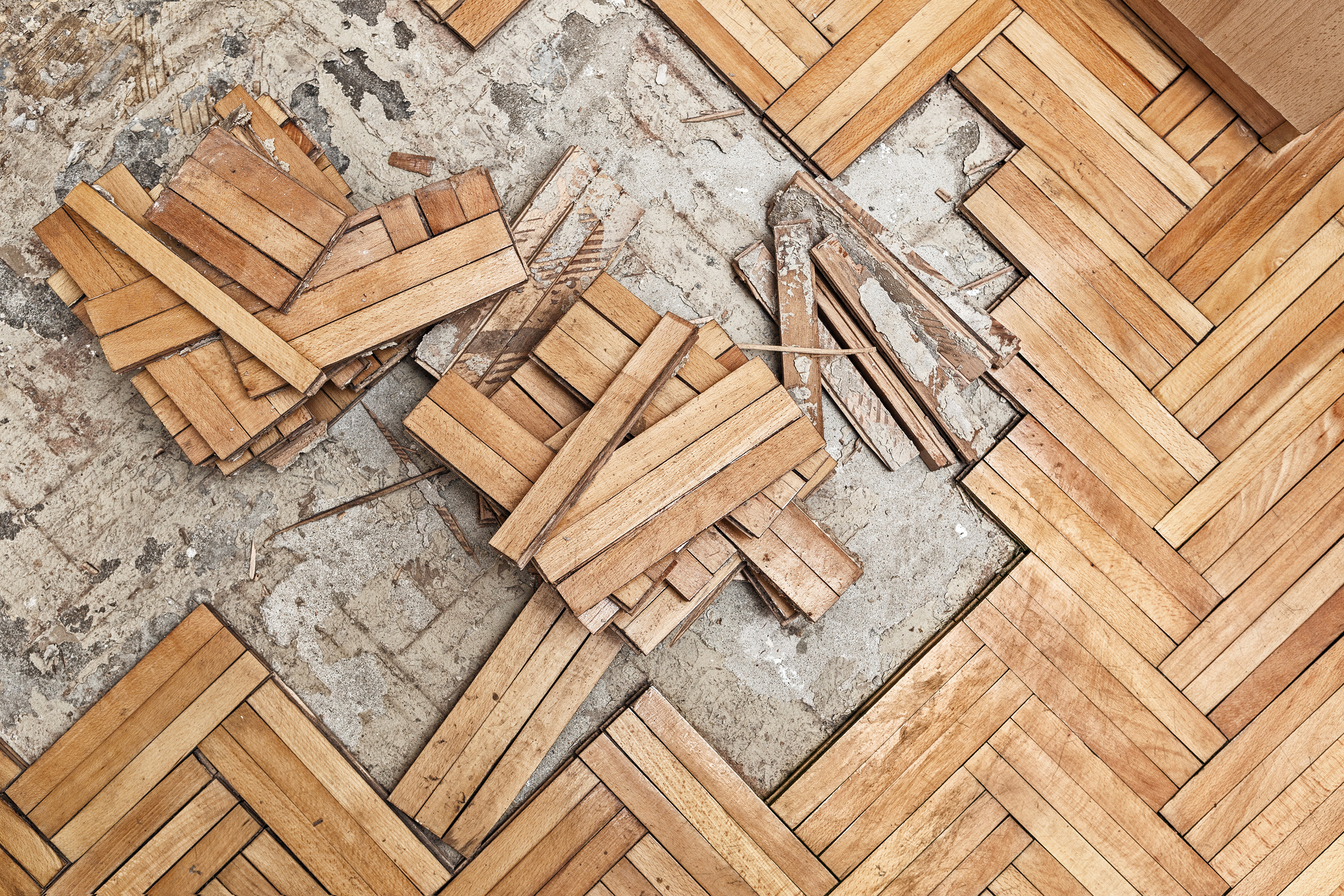 broken and damaged wooden floor