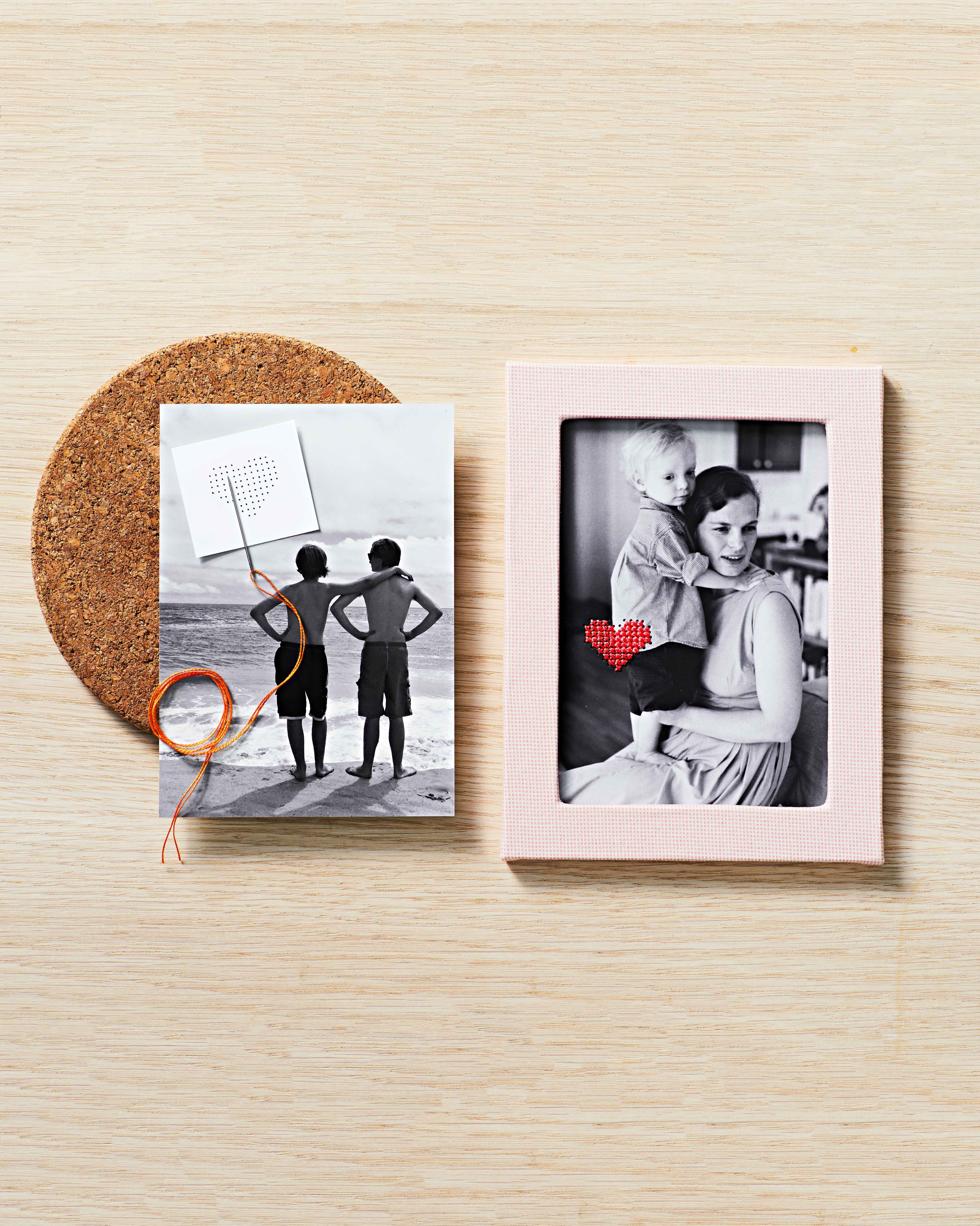heart embroidered photo diy