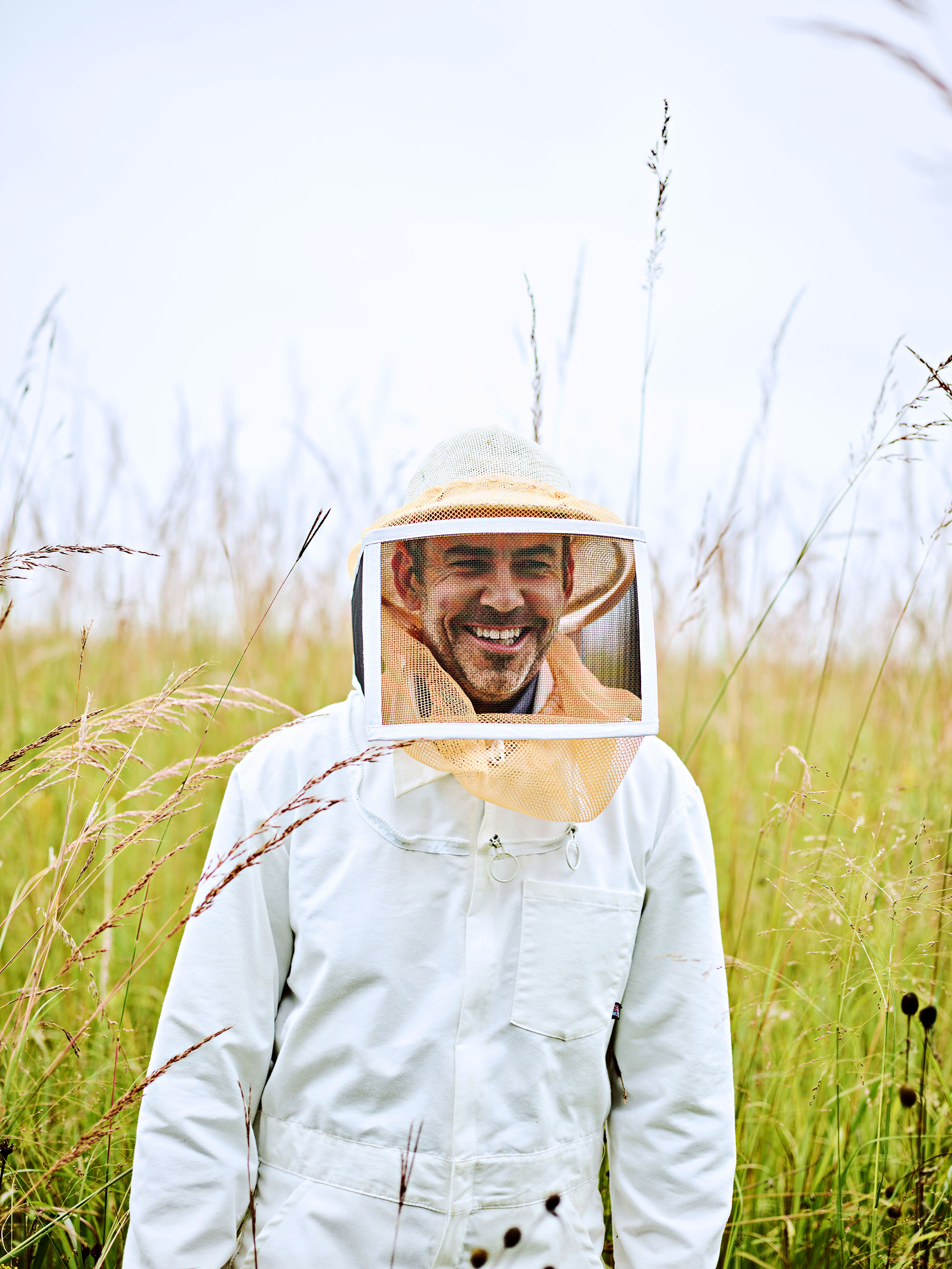 lost creek farm wisconsin Benrud in bee suit