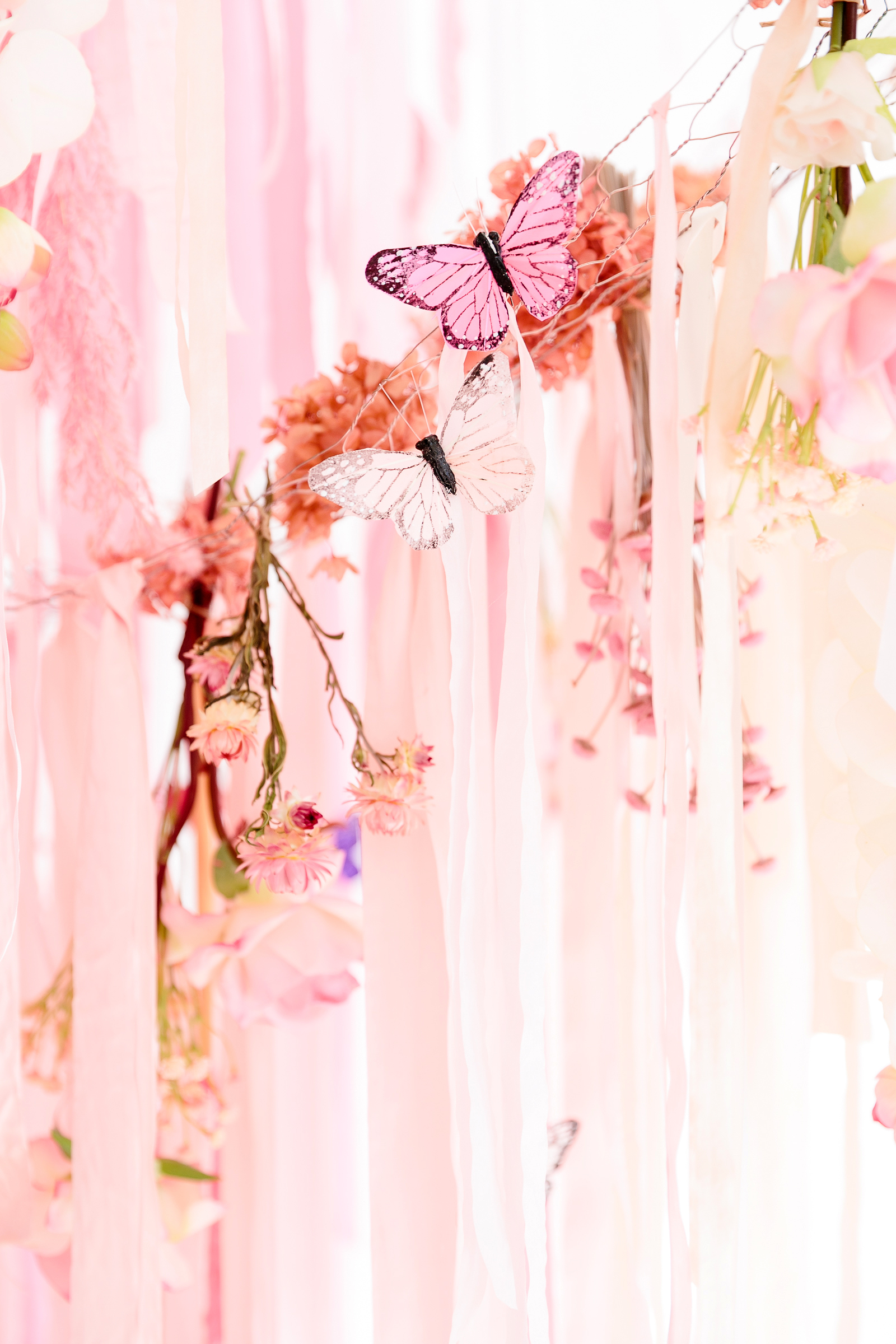 butterfly party close up flower streamer decorations