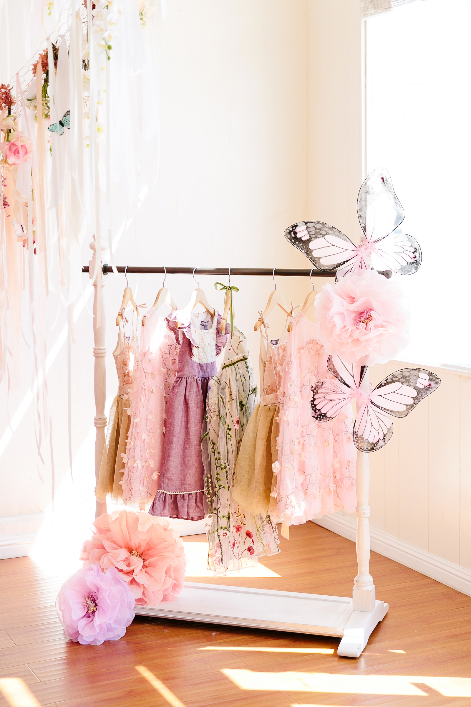 butterfly party flower decorations rack of dress up clothing