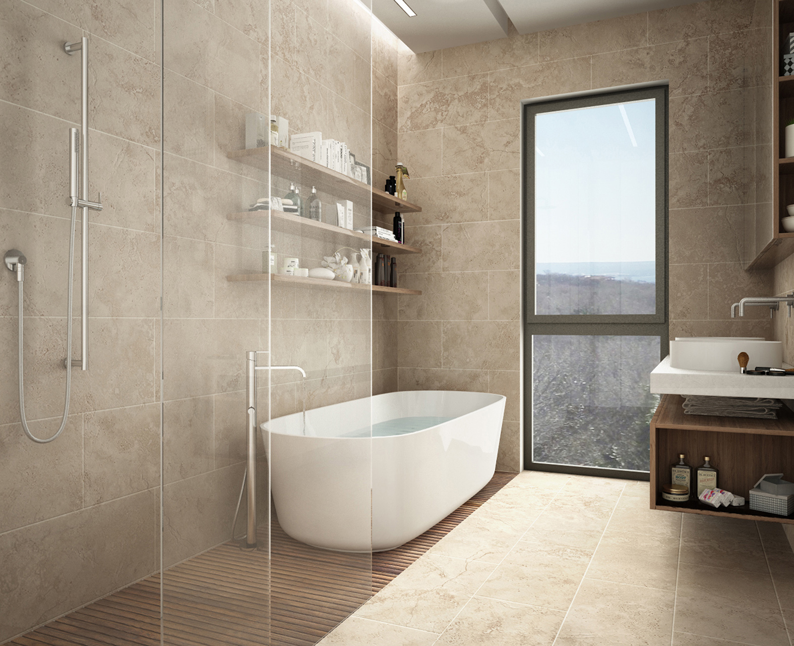Modern limestone bathroom