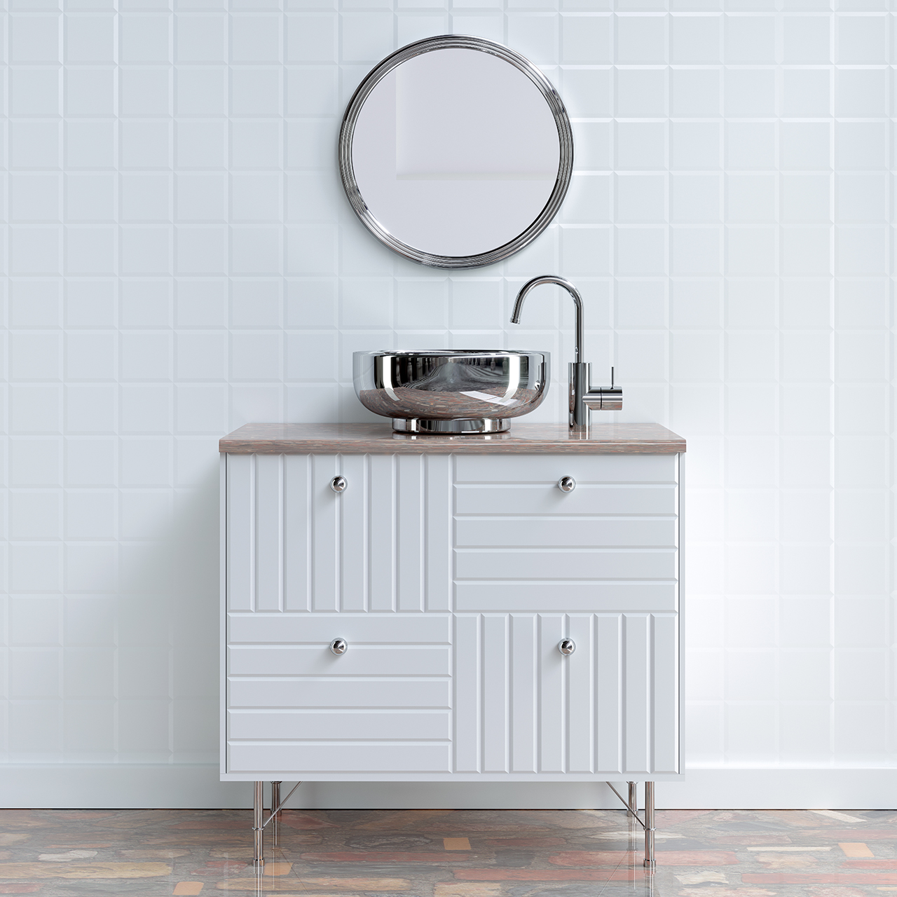 bathroom furniture square tile