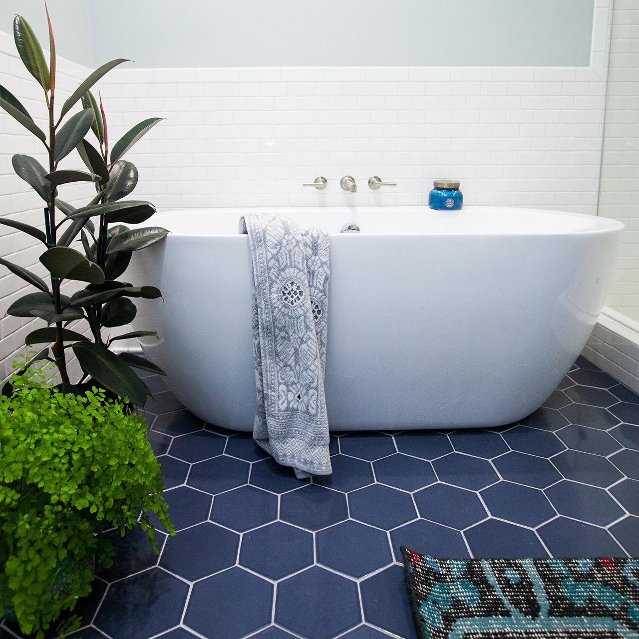 bathroom remodel modern blue tiles