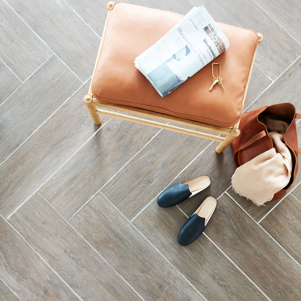 tile floors wood hand bag with shoes