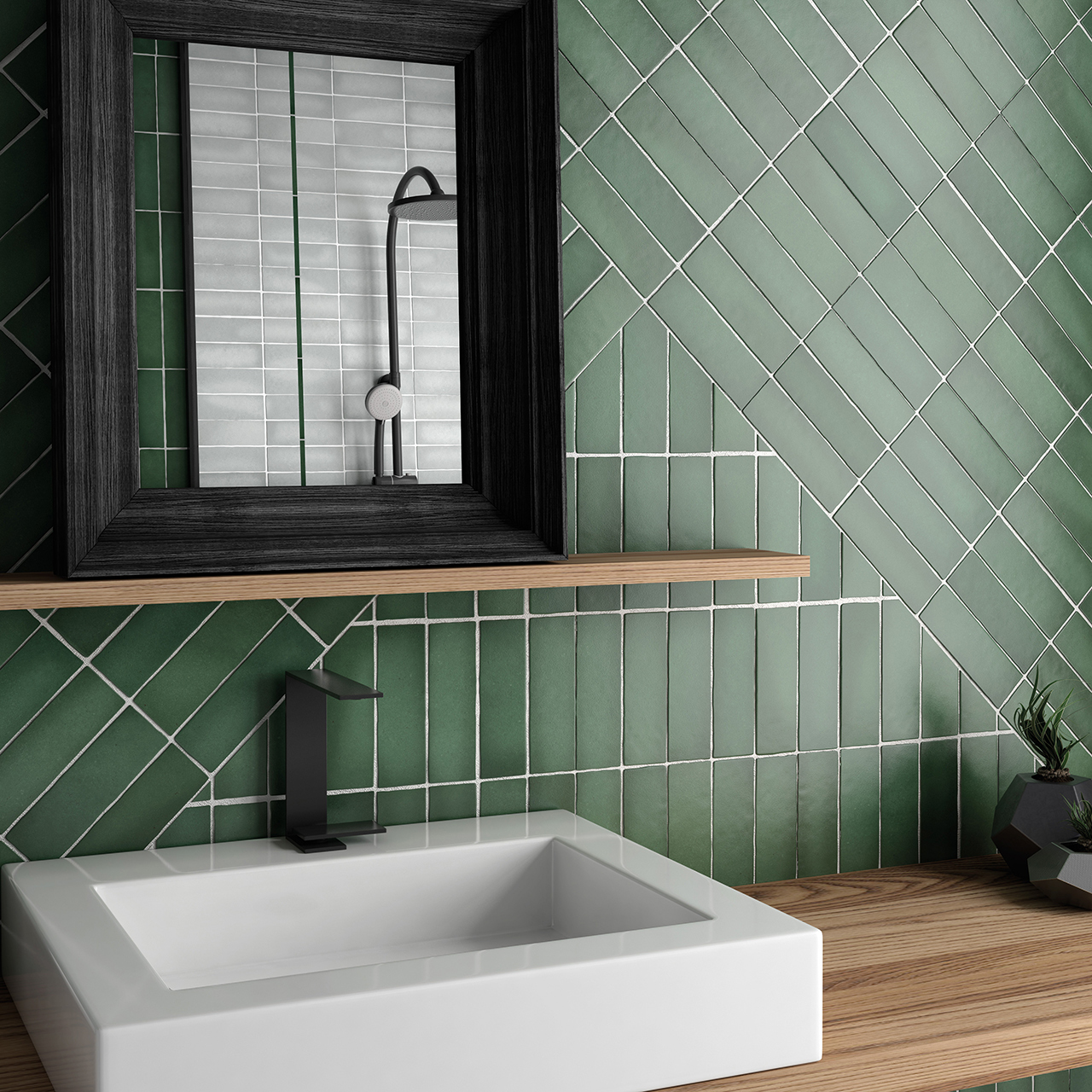bold dark green wall tile