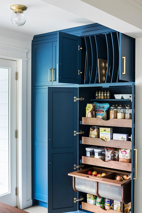 pantry organization with pull out fruit drawers