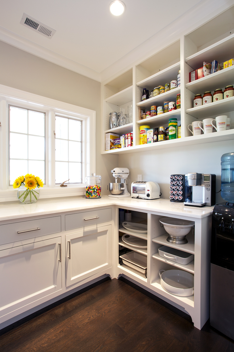 pantry organization white kitchen with open shelving