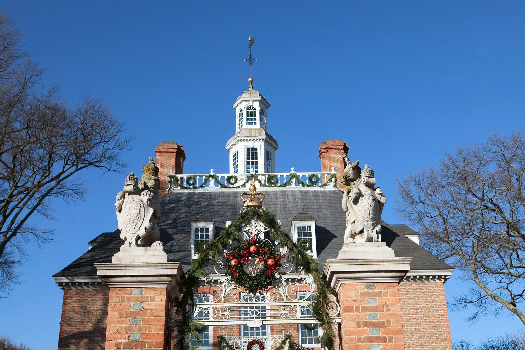 large building with holiday decorations