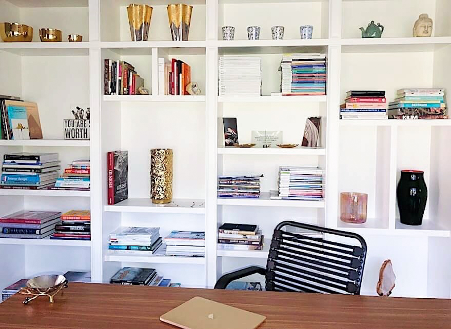 home office calming design white shelving