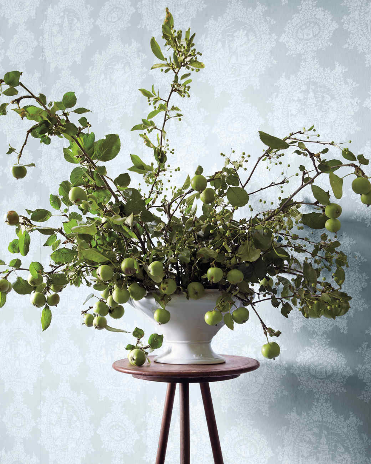 green apples and branches arranged in a white vase
