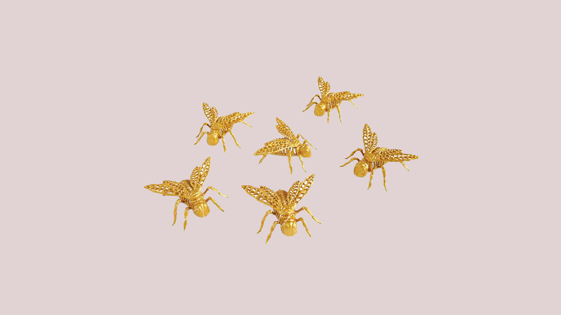 Grandin Road Gold Skeleton Bees