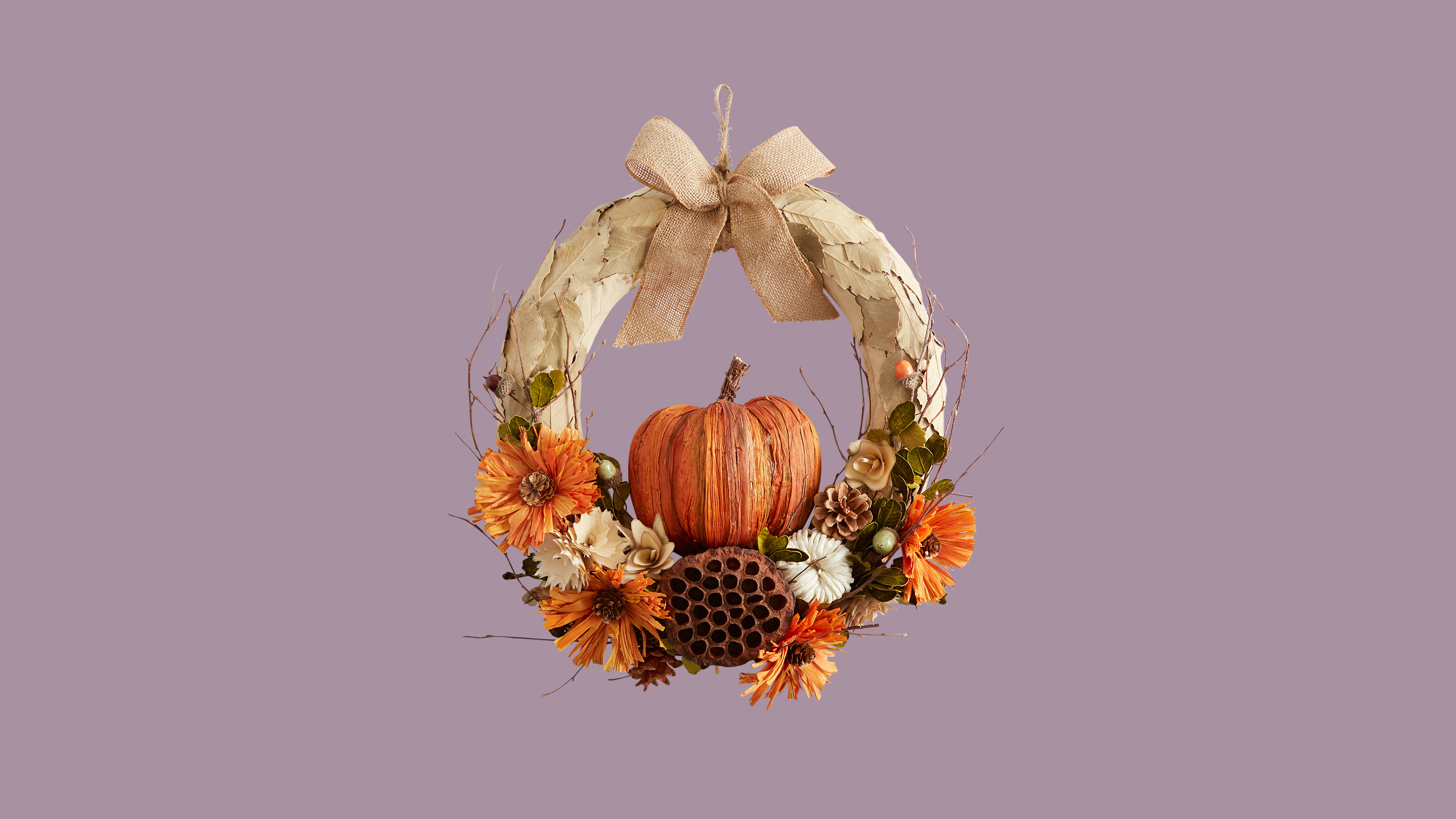 Pier 1 Faux Pumpkin & Burlap Wreath