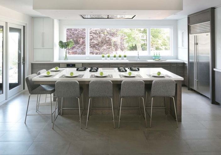 chefs table in gray kitchen