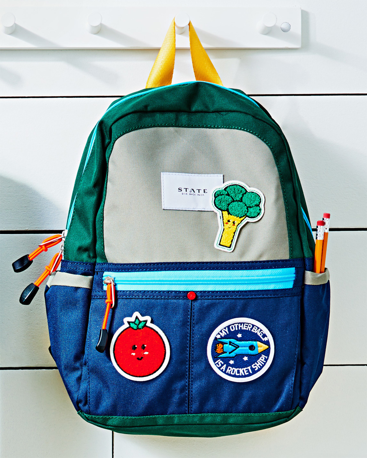 backpack with iron-on patches