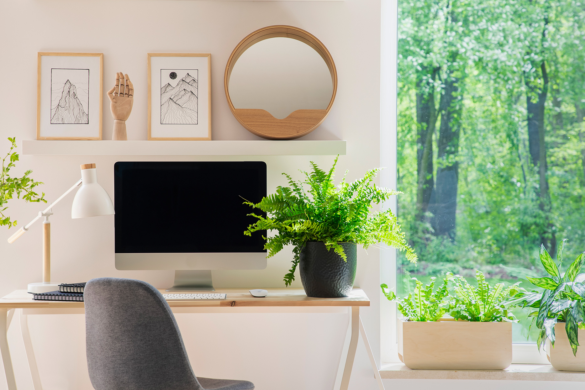 white and wood accent home office with fern