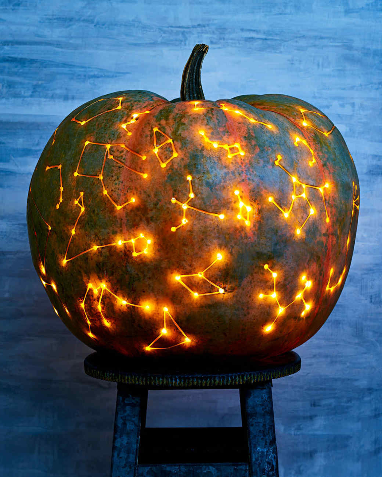 constellations carved on pumpkin