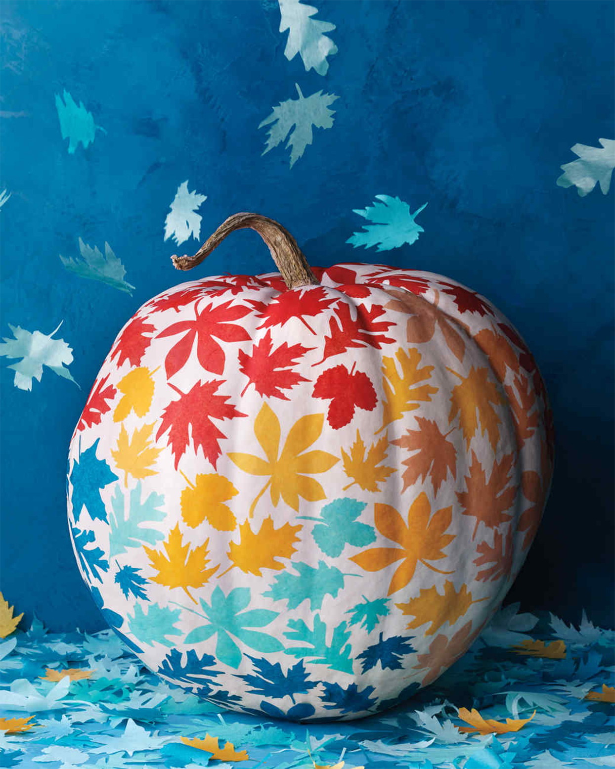 colorful leaves decoupage decorated pumpkin