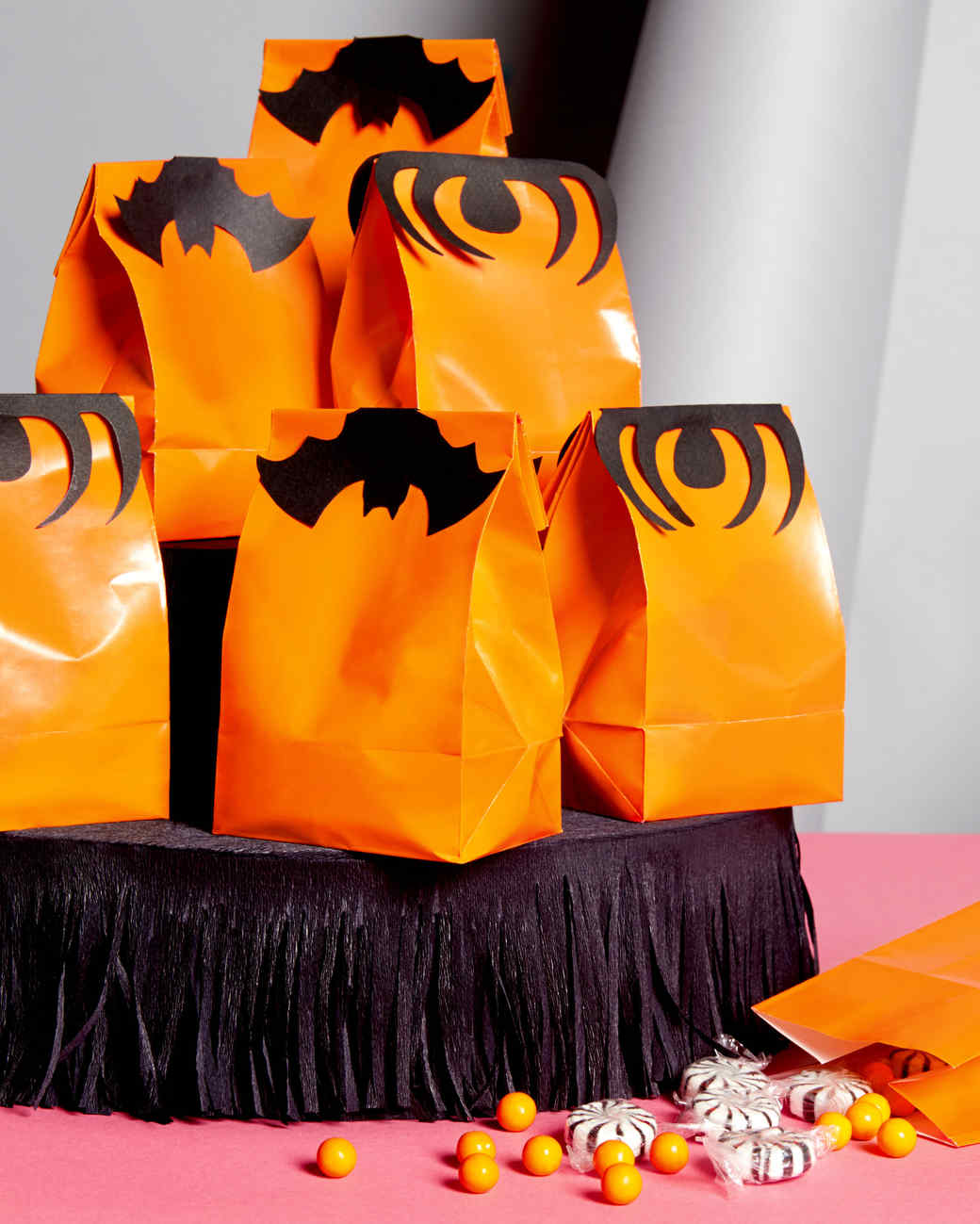 Halloween spider and bat treat bag toppers