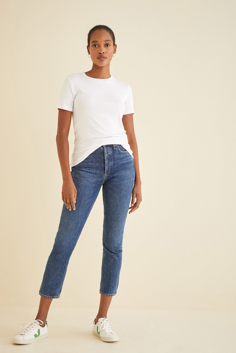 White tshirt and jeans outfit