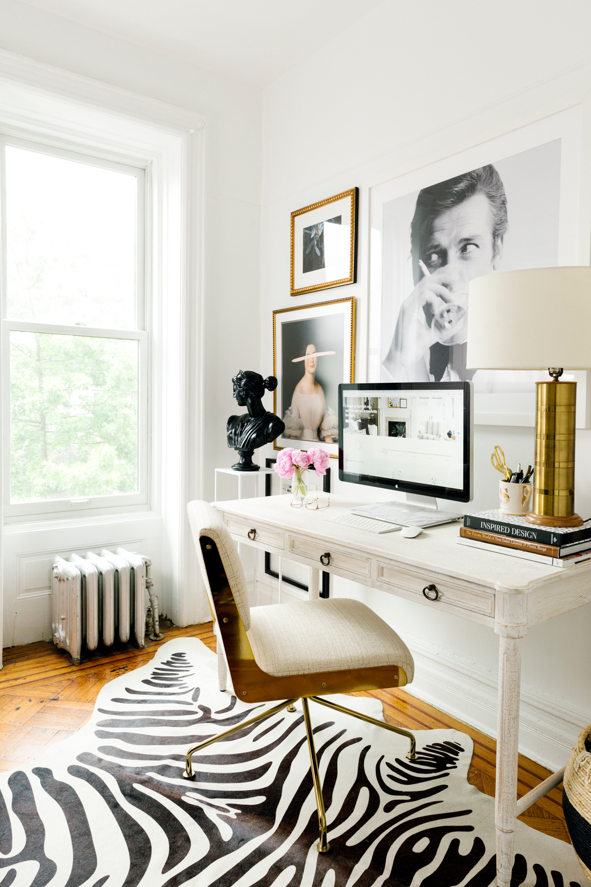 shelby nyc apartment office with zebra print rug