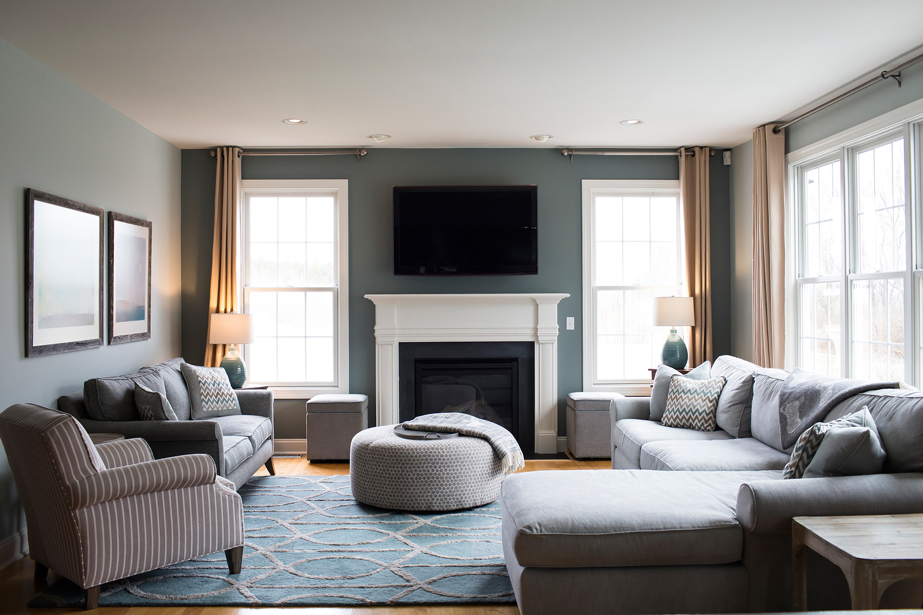 single hung windows in blue and gray living room