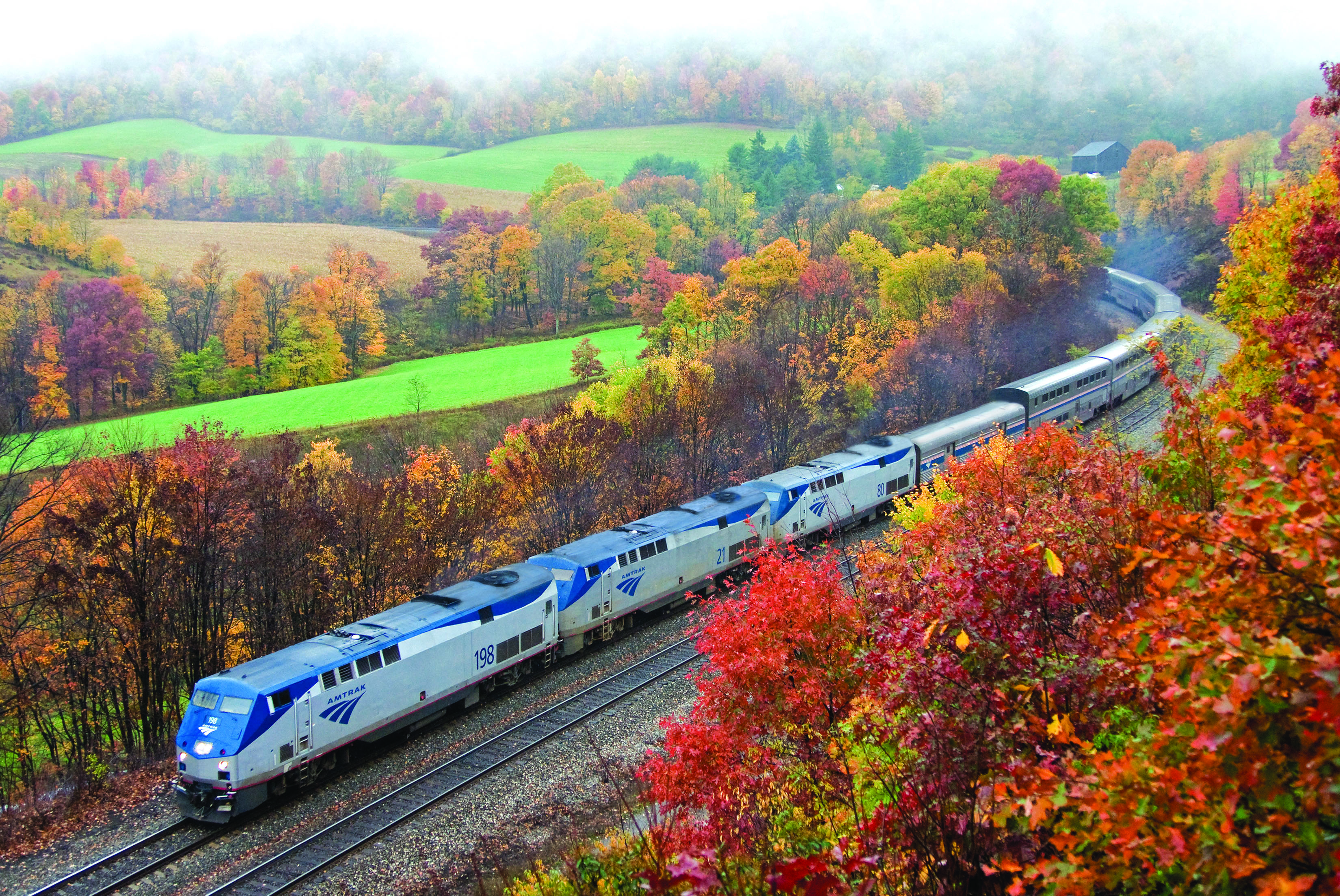 Amtrak train traveling through the Allegheny Mountains