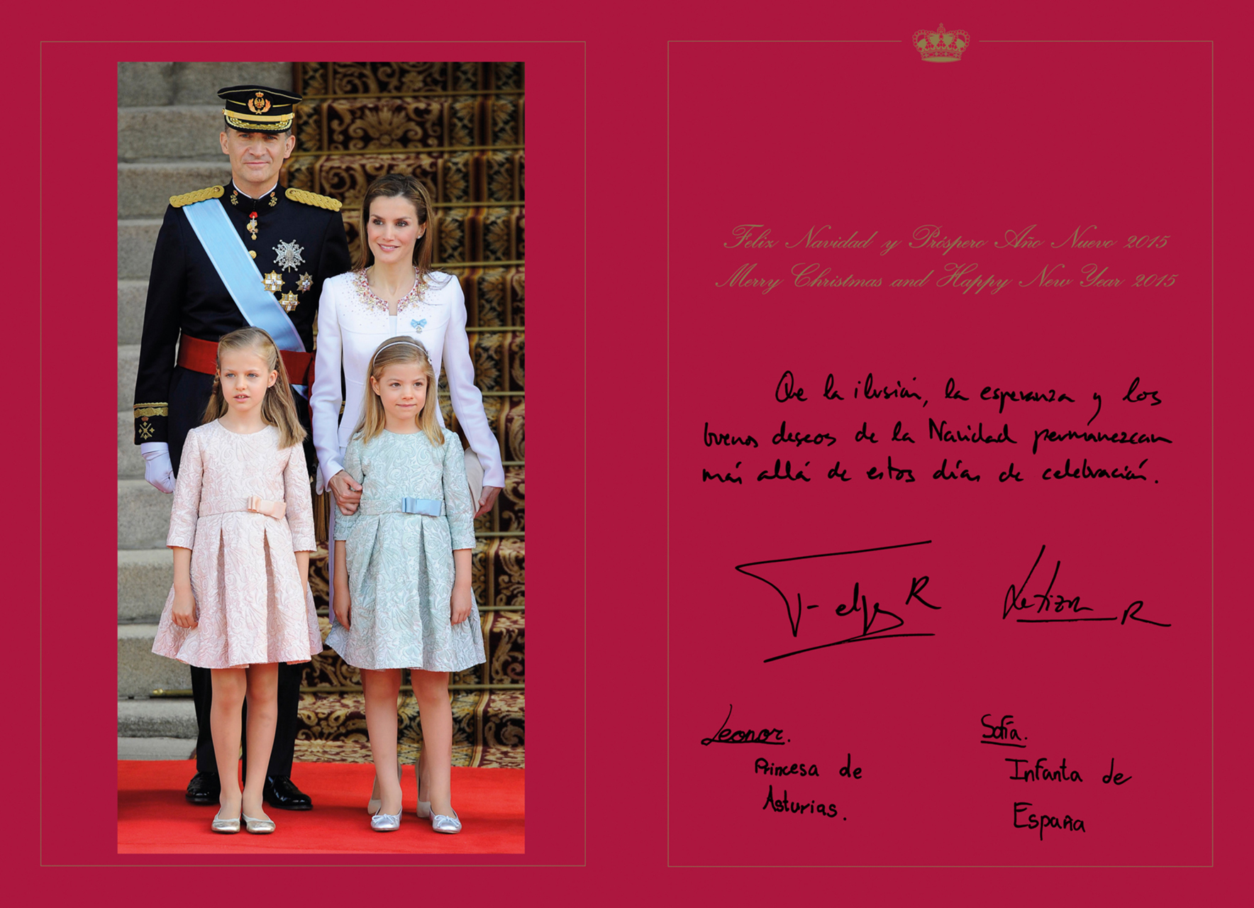 spanish royal family holiday hand out