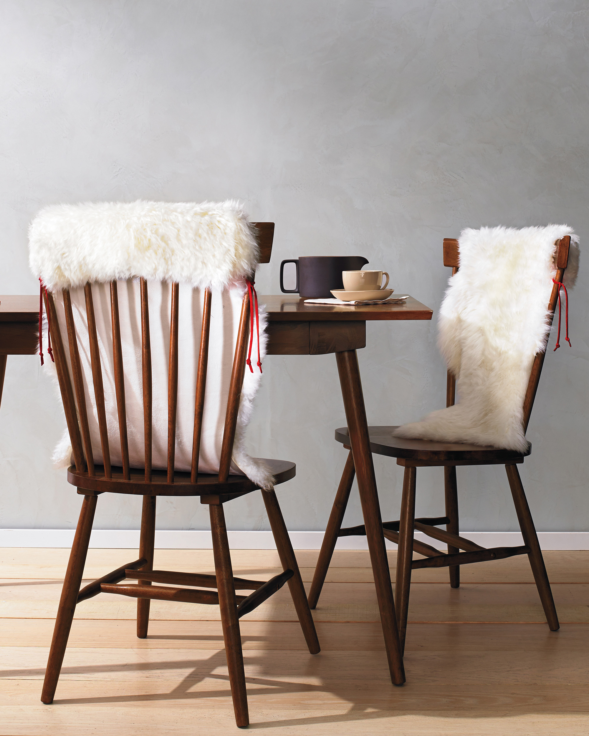 chairs with sheepskin covering