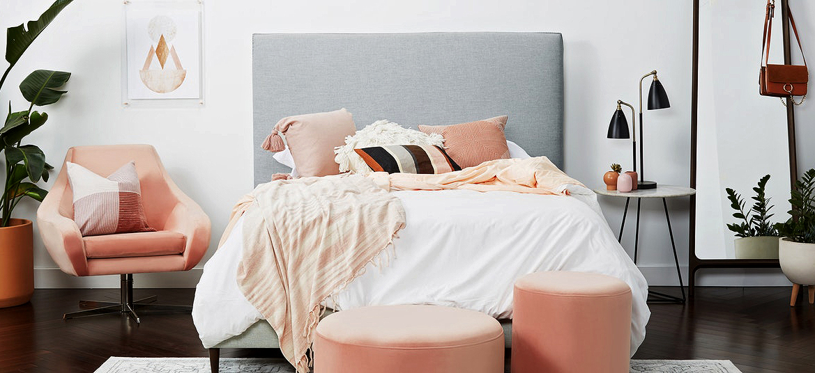 gray and coral bedroom with Joybird furniture