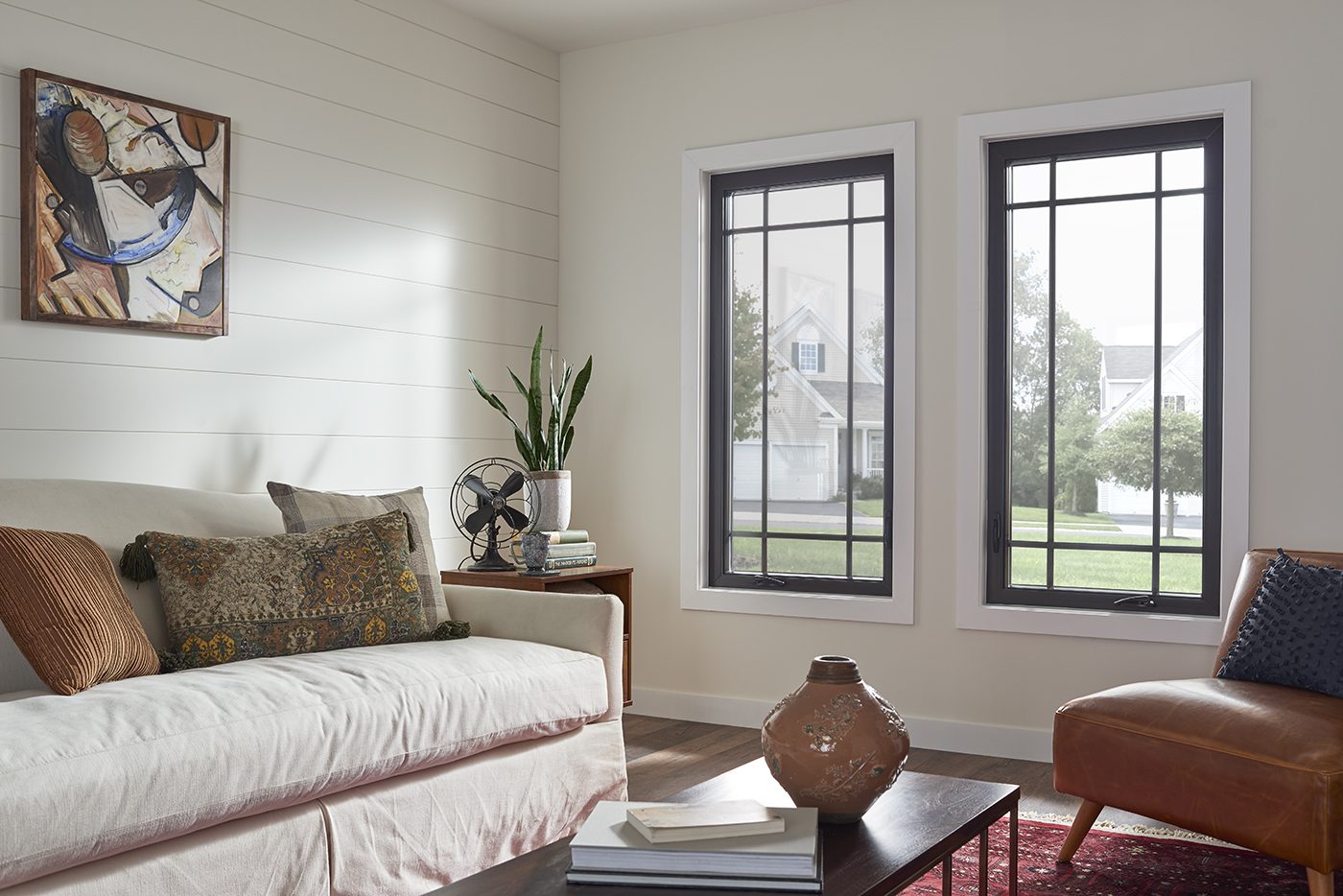 Casement windows in a living room.