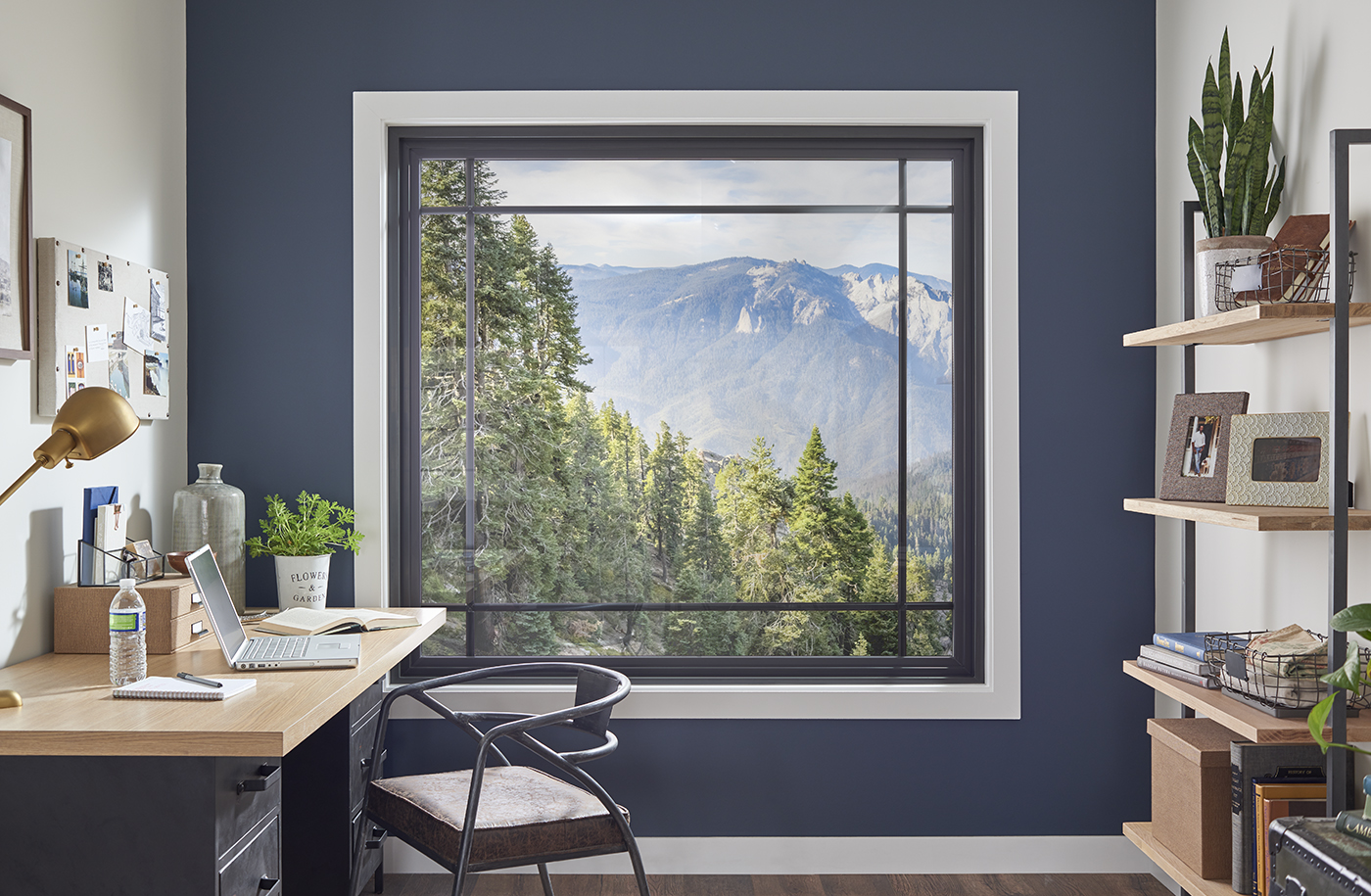 Picture style window in a home office.