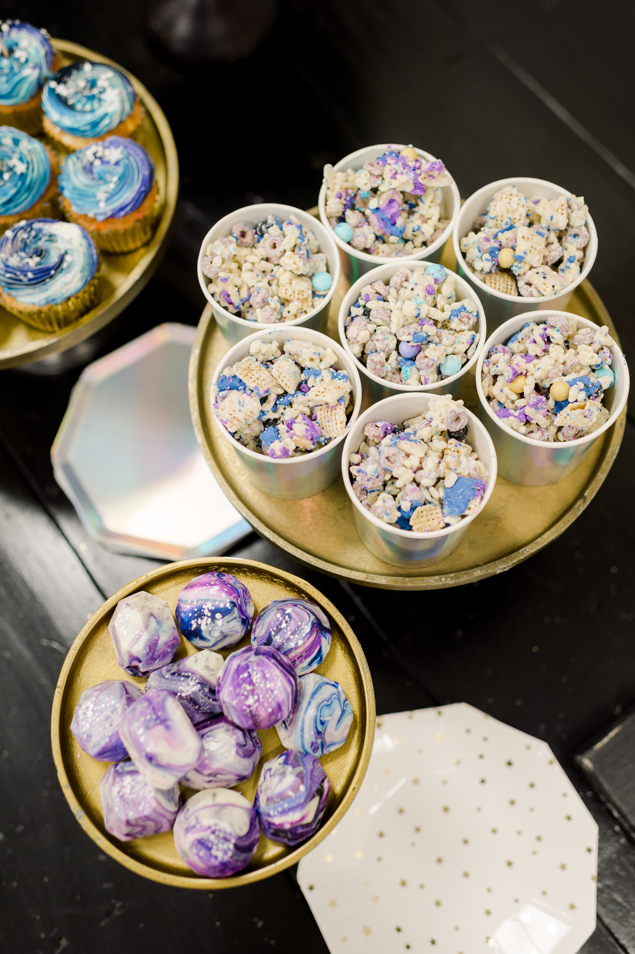 purple and blue galaxy themed design party snacks