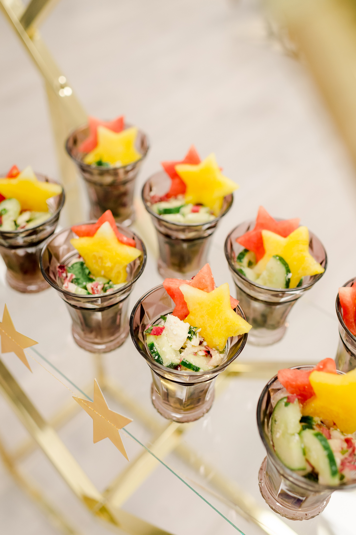 star shaped melon treats in salad cups