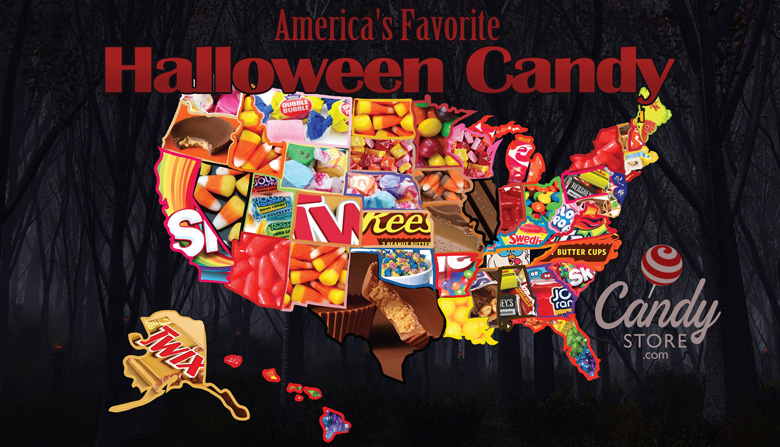 Favorite Halloween candy map by state