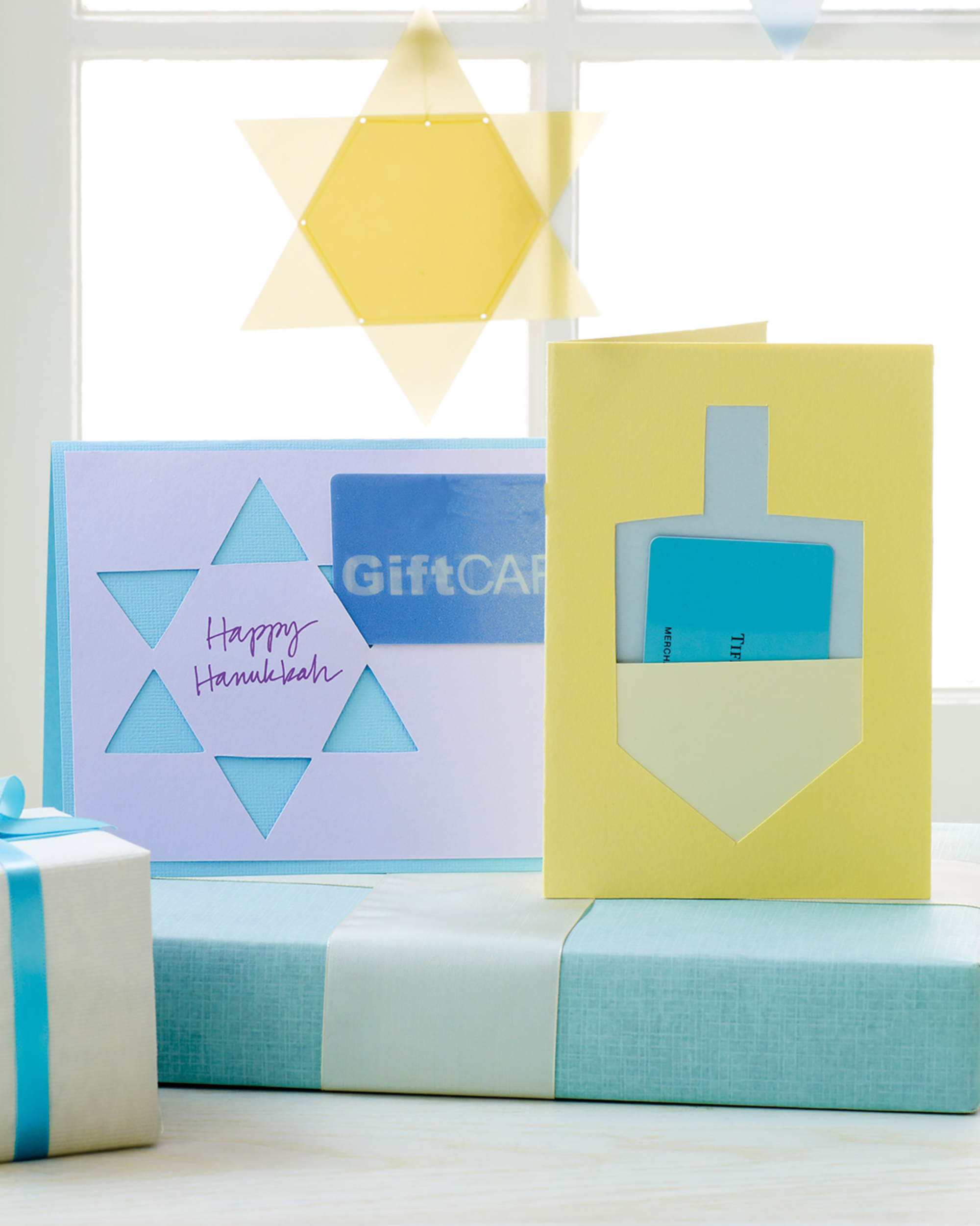 colorful cardstock star of david and dreidel cards