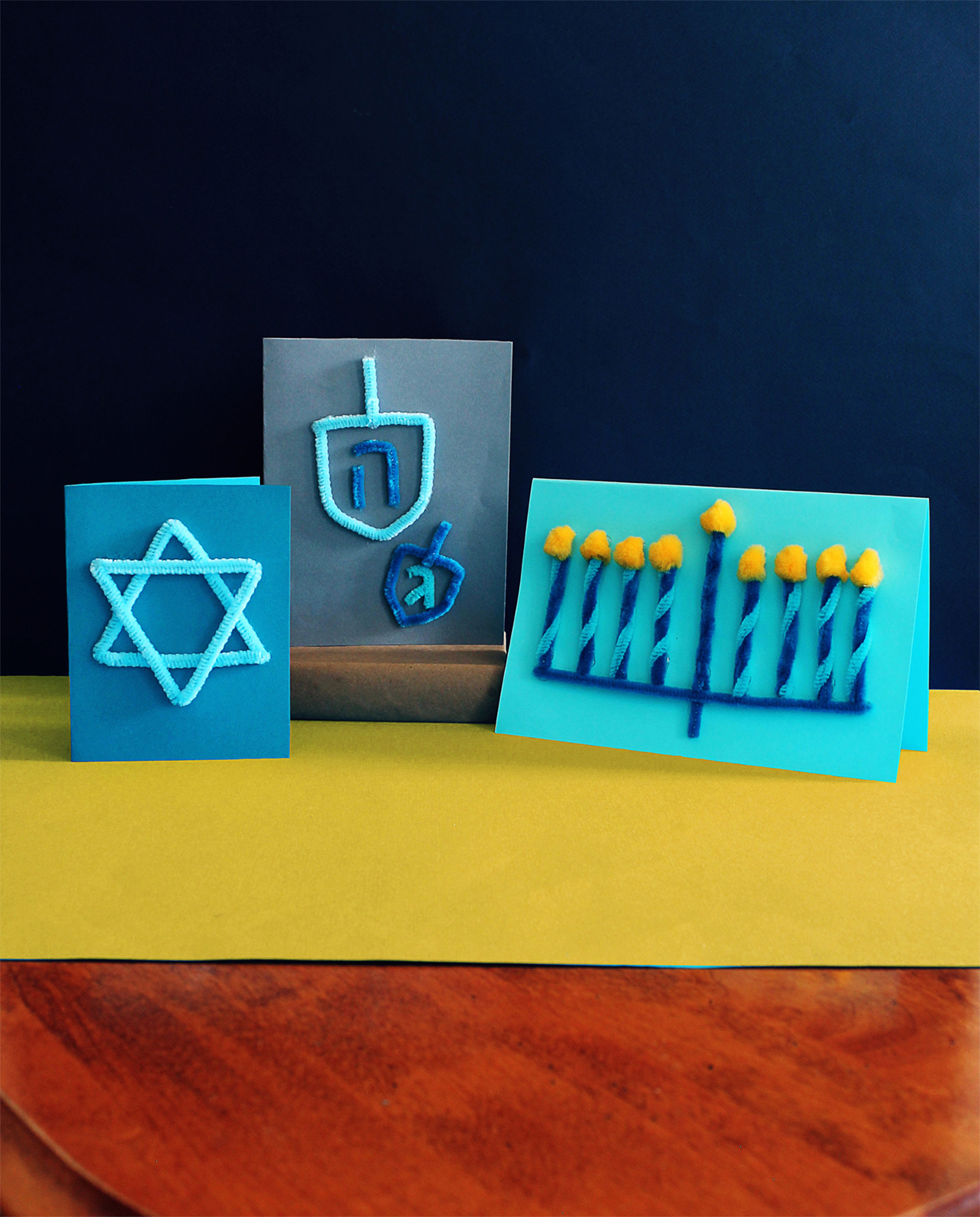 blue pipe cleaner hanukkah holiday cards