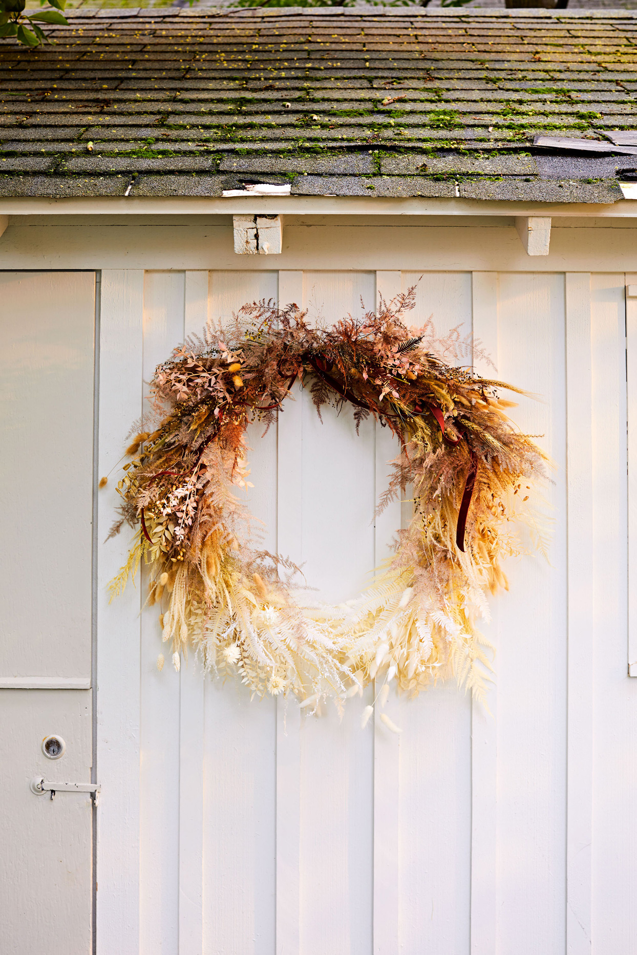 ombre wreath constructed from dried flowers