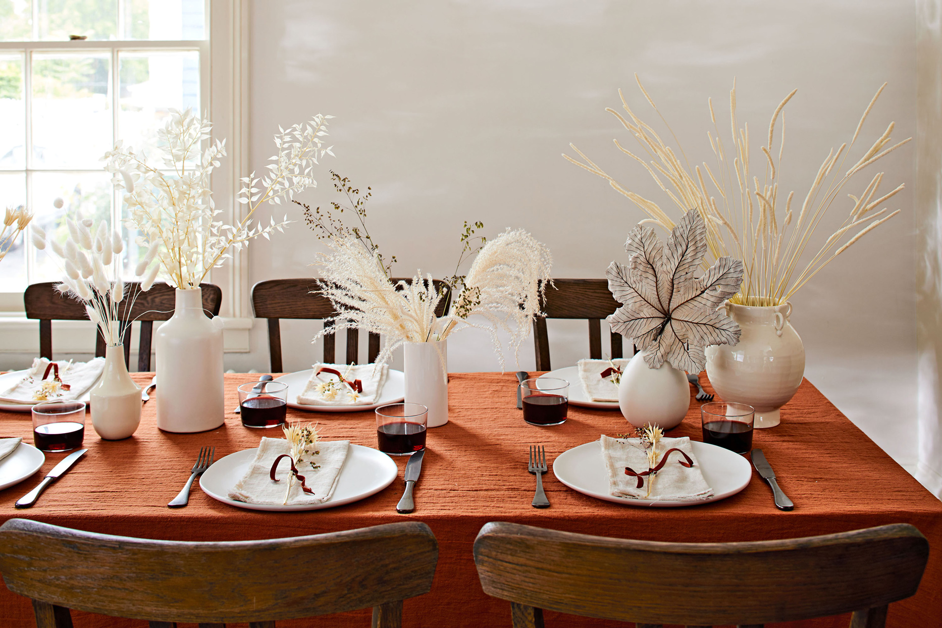 fall tablescape decorated with dried flowers